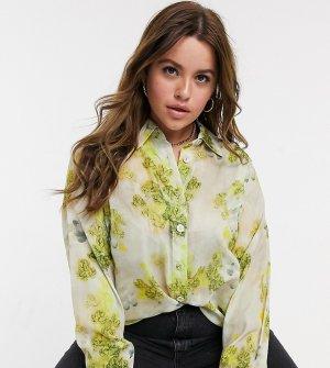 Рубашка с цветочным принтом Plus-Многоцветный Elvi