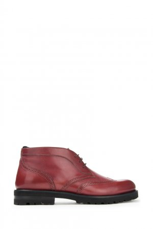 Бордовые кожаные ботинки Alberto Guardiani. Цвет: бордовый