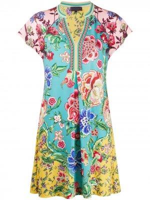 Платье мини с короткими рукавами и цветочным принтом Hale Bob. Цвет: синий
