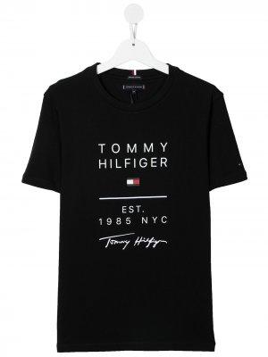 Футболка с логотипом Tommy Hilfiger Junior. Цвет: синий