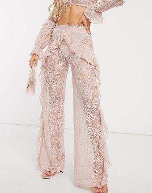 Светло-розовые широкие пляжные брюки из кружева от комплекта -Розовый Missguided