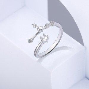 Открытое кольцо Позолоченный с цирконом узором овна SHEIN. Цвет: серебряные