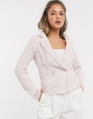 Твидовый блейзер с жемчужными пуговицами -Розовый Parisian