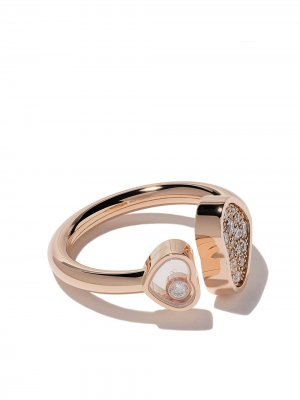 Кольцо Happy Hearts из розового золота с бриллиантами Chopard. Цвет: розовый