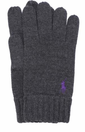 Шерстяные перчатки Polo Ralph Lauren. Цвет: темно-серый