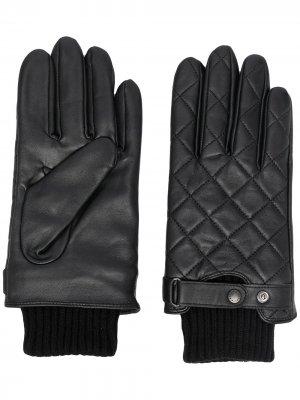 Стеганые перчатки Barbour. Цвет: черный