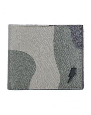 Бумажник NEIL BARRETT. Цвет: зеленый-милитари
