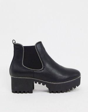 Черные ботинки челси на каблуке -Черный Truffle Collection
