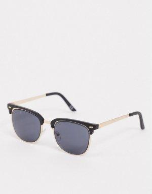 Солнцезащитные очки в стиле ретро золотистой оправе с черной вставкой -Золотистый ASOS DESIGN