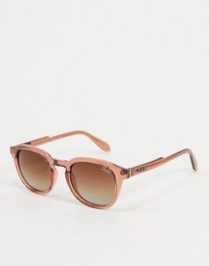 Коричневые солнцезащитные очки в круглой оправе -Коричневый Quay Australia