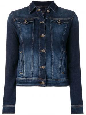 Укороченная джинсовая куртка с потертостями Emporio Armani. Цвет: синий