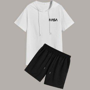 Мужской с текстовым принтом на кулиске капюшоном Футболка Спортивные шорты SHEIN. Цвет: черный и белый