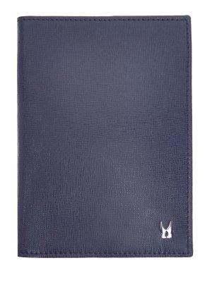 Кожаная обложка для паспорта с литым логотипом MORESCHI. Цвет: синий