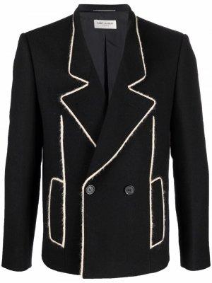 Однобортный пиджак с контрастной отделкой Saint Laurent. Цвет: черный