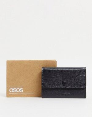 Черная визитница-бумажник из искусственной сафьяновой кожи -Черный ASOS DESIGN