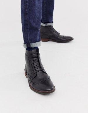 Черные кожаные броги с натуральной подошвой -Черный ASOS DESIGN