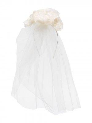 Ободок Helena с вуалью Jennifer Behr. Цвет: белый
