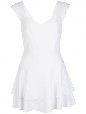 Платье с оборками и вырезом в форме сердца Alice+Olivia. Цвет: белый
