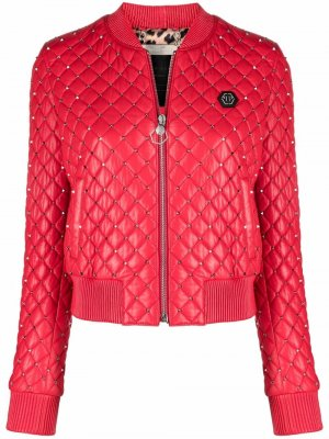 Куртка-бомбер с заклепками Philipp Plein. Цвет: красный