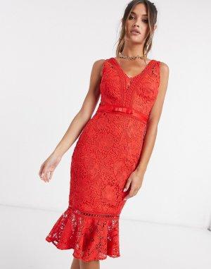 Красное облегающее платье из кружева -Красный Lipsy