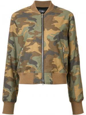 Куртка-бомбер с камуфляжным рисунком Amiri. Цвет: зелёный