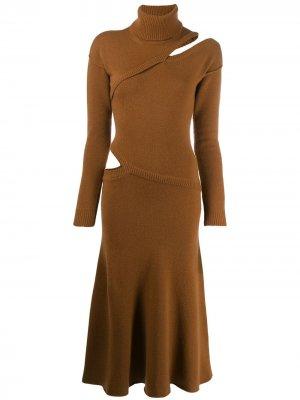 Платье-свитер асимметричного кроя Each X Other. Цвет: коричневый