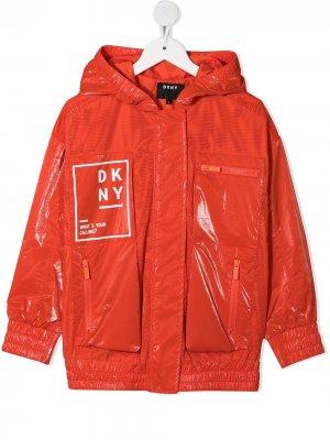 Куртка на молнии с логотипом Dkny Kids. Цвет: оранжевый