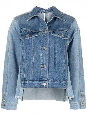 Джинсовая куртка с контрастными вставками SJYP. Цвет: синий