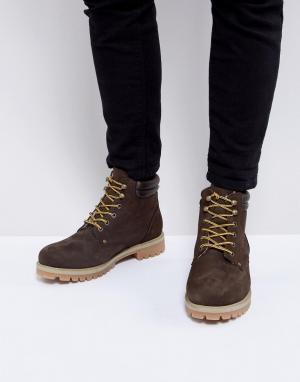 Ботинки из нубука с теплой подкладкой Jack & Jones. Цвет: коричневый