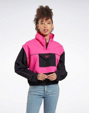Ветровка черного/розового цвета с логотипом -Черный Reebok