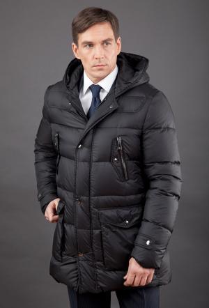 Зимний мужской пуховик для больших размеров без меха AFG. Цвет: черный