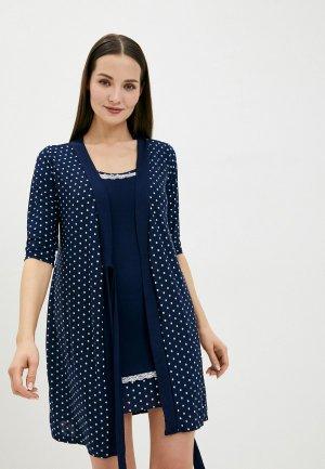 Халат и сорочка ночная Tenerezza. Цвет: синий