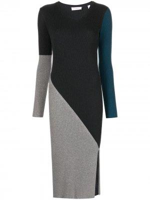 Платье со вставками в рубчик Equipment. Цвет: разноцветный