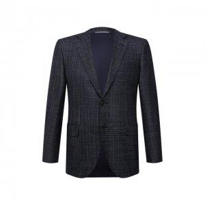Пиджак из шерсти и шелка Canali. Цвет: синий