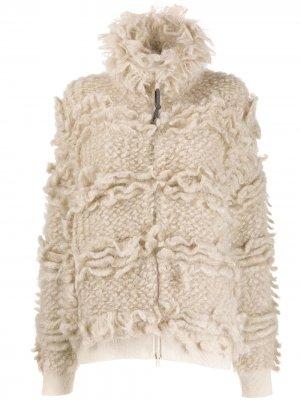 Куртка-бомбер крупной вязки Brunello Cucinelli. Цвет: нейтральные цвета