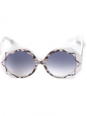 Солнцезащитные очки Pinstripe Lace Cutler & Gross. Цвет: белый