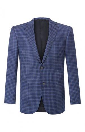 Шерстяной пиджак Ermenegildo Zegna. Цвет: синий