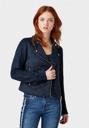 Куртка кожаная Tom Tailor Denim. Цвет: синий