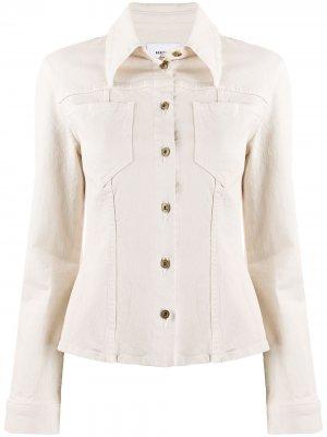 Приталенная джинсовая куртка Nanushka. Цвет: нейтральные цвета