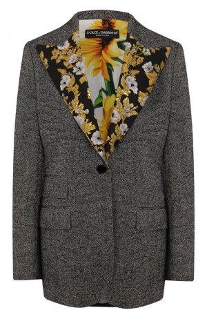 Шерстяной жакет Dolce & Gabbana. Цвет: серый