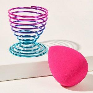 Блендер для макияжа с держателем SHEIN. Цвет: ярко-розовый