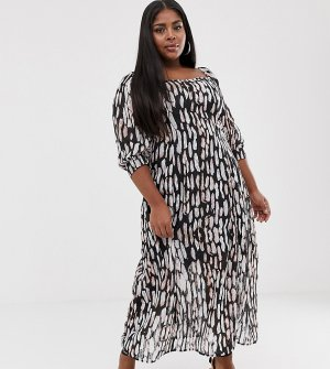 Платье миди с абстрактным звериным принтом -Белый Religion Plus