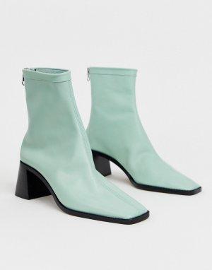 Зеленые кожаные ботильоны на среднем каблуке ASOS DESIGN