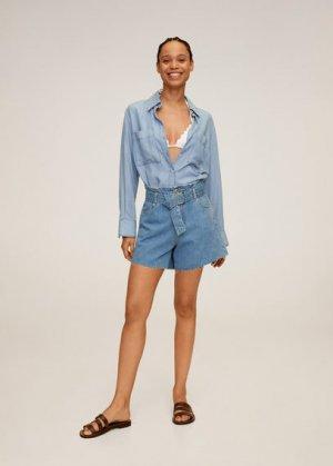 Джинсовые шорты с поясом - Soft Mango. Цвет: синий средний