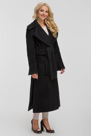 Длинное шерстяное пальто с большим воротником Teresa Tardia. Цвет: черный