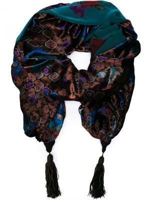 Жаккардовая накидка-шаль Emanuel Ungaro Pre-Owned. Цвет: синий