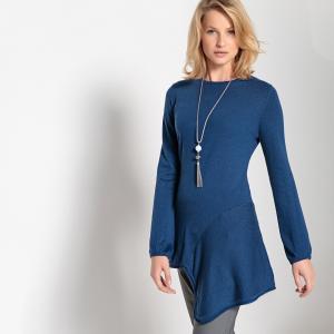 Пуловер-туника асимметричный из тонкого трикотажа с круглым вырезом ANNE WEYBURN. Цвет: синий
