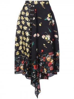 Asymmetrical Mixed Print Skirt Derek Lam. Цвет: черный