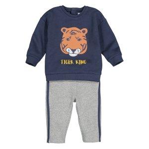 Комплект свитшот и брюки спортивные La Redoute. Цвет: серый