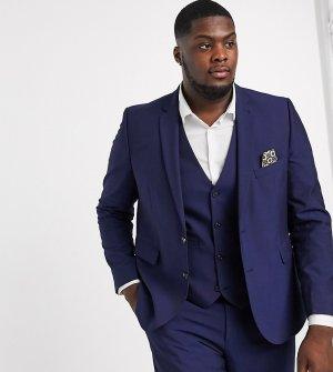 Однотонный узкий пиджак Plus-Темно-синий Harry Brown